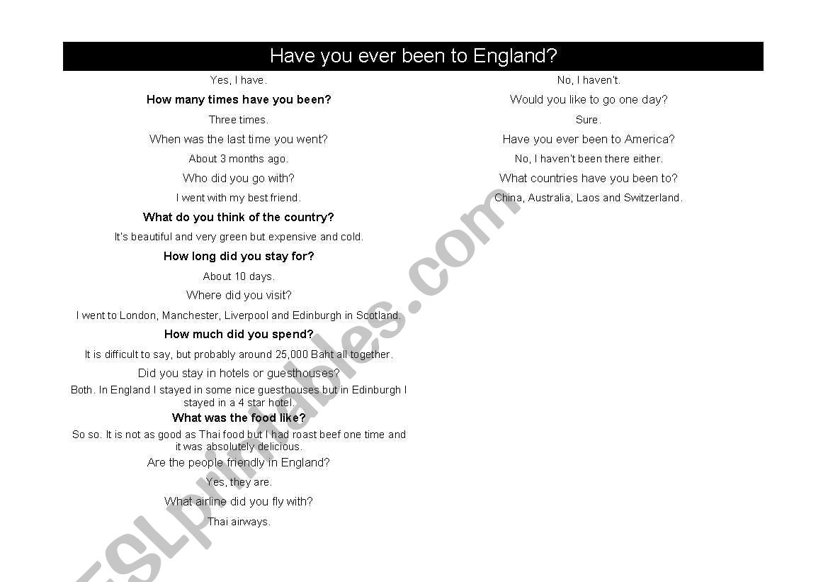 Conversations Using The Present Perfect Tense