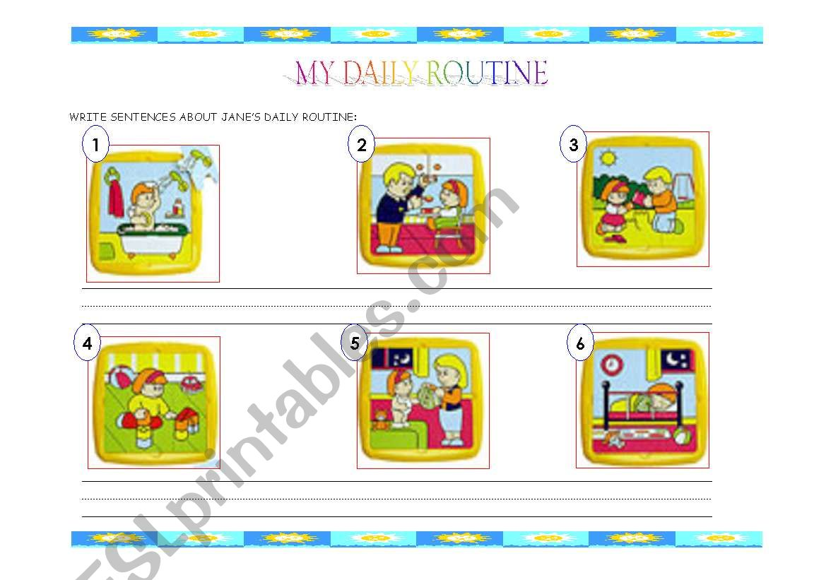 English Worksheets My Dairy Routine