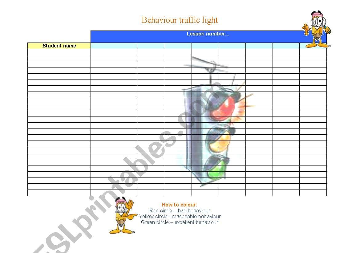 English Worksheets Behaviour Traffic Light