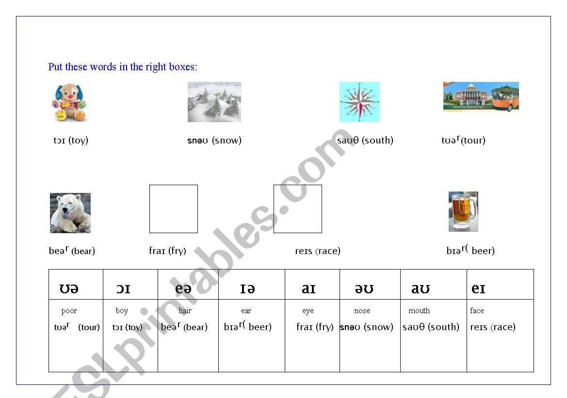 English Worksheets Diphthongs