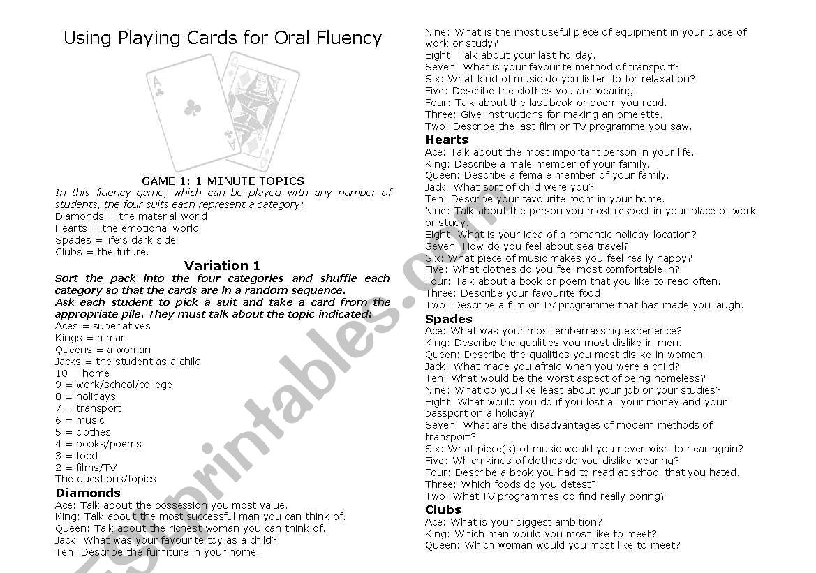Using Playing Cards For Oral Fluency
