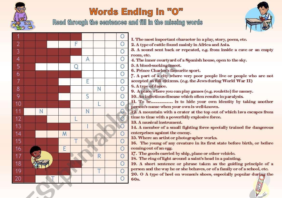 Words Ending In O