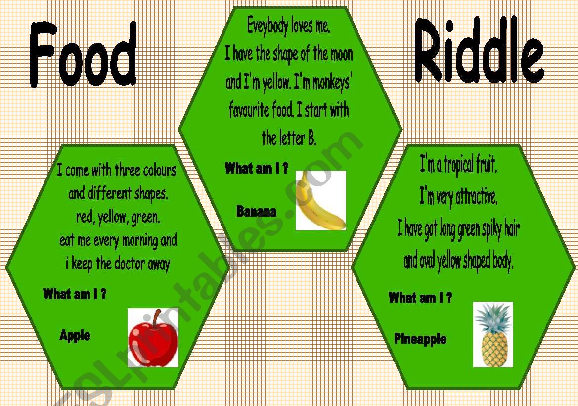 English Worksheets Food Riddle