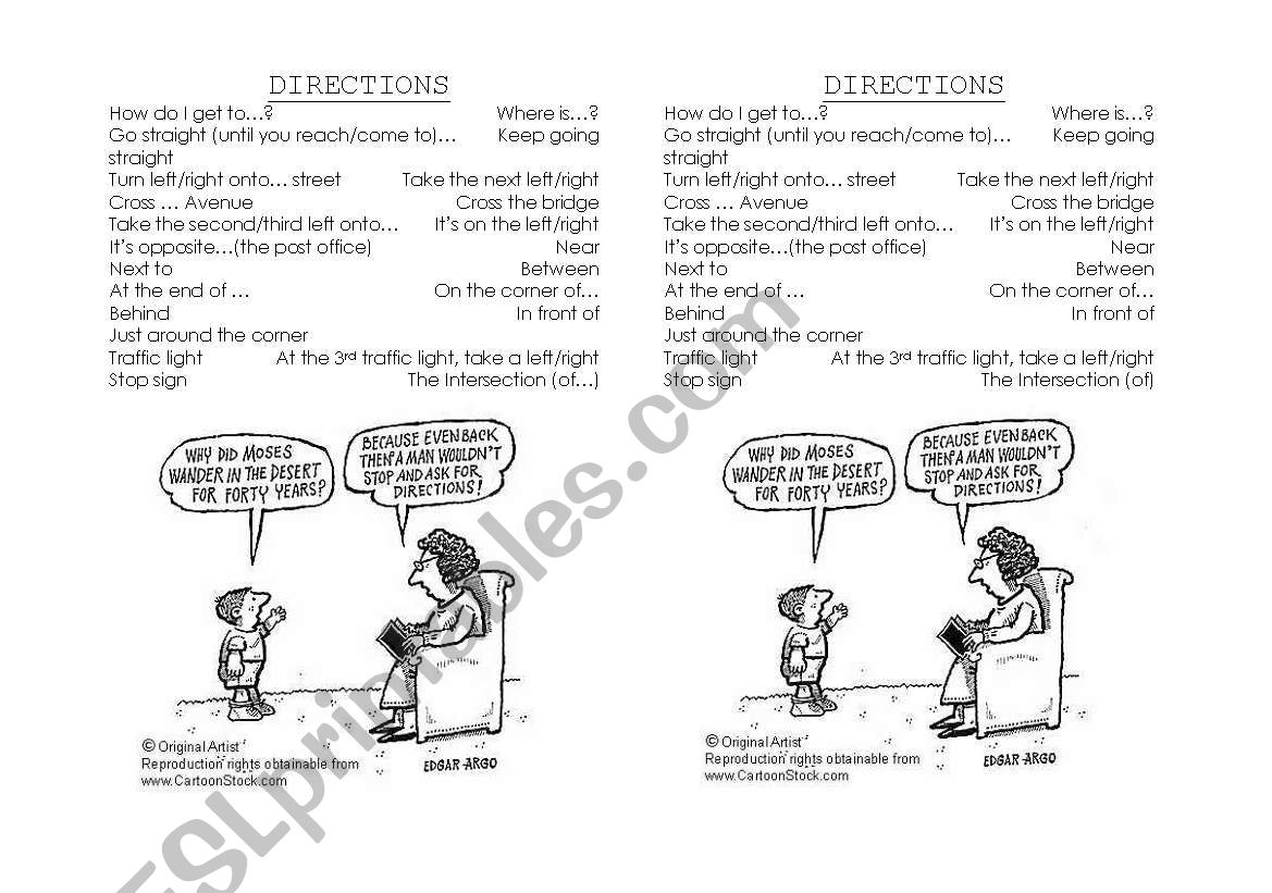 English Worksheets Directions Vocabulary