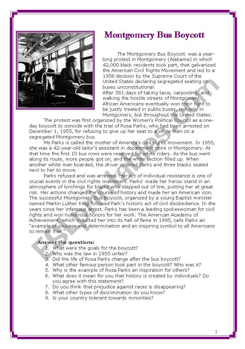 Racism And Rosa Parks 3 Pages Esl Worksheet By Pannap