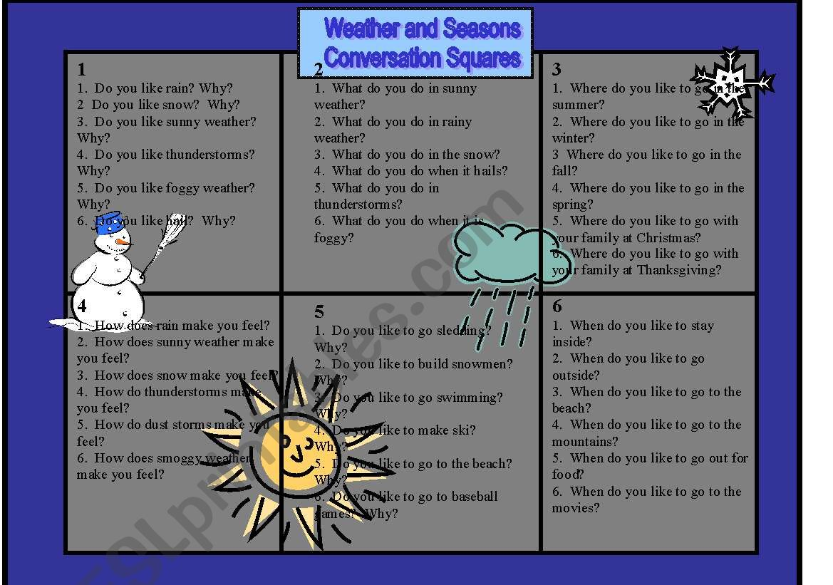 Conversation Squares Weather And Seasons