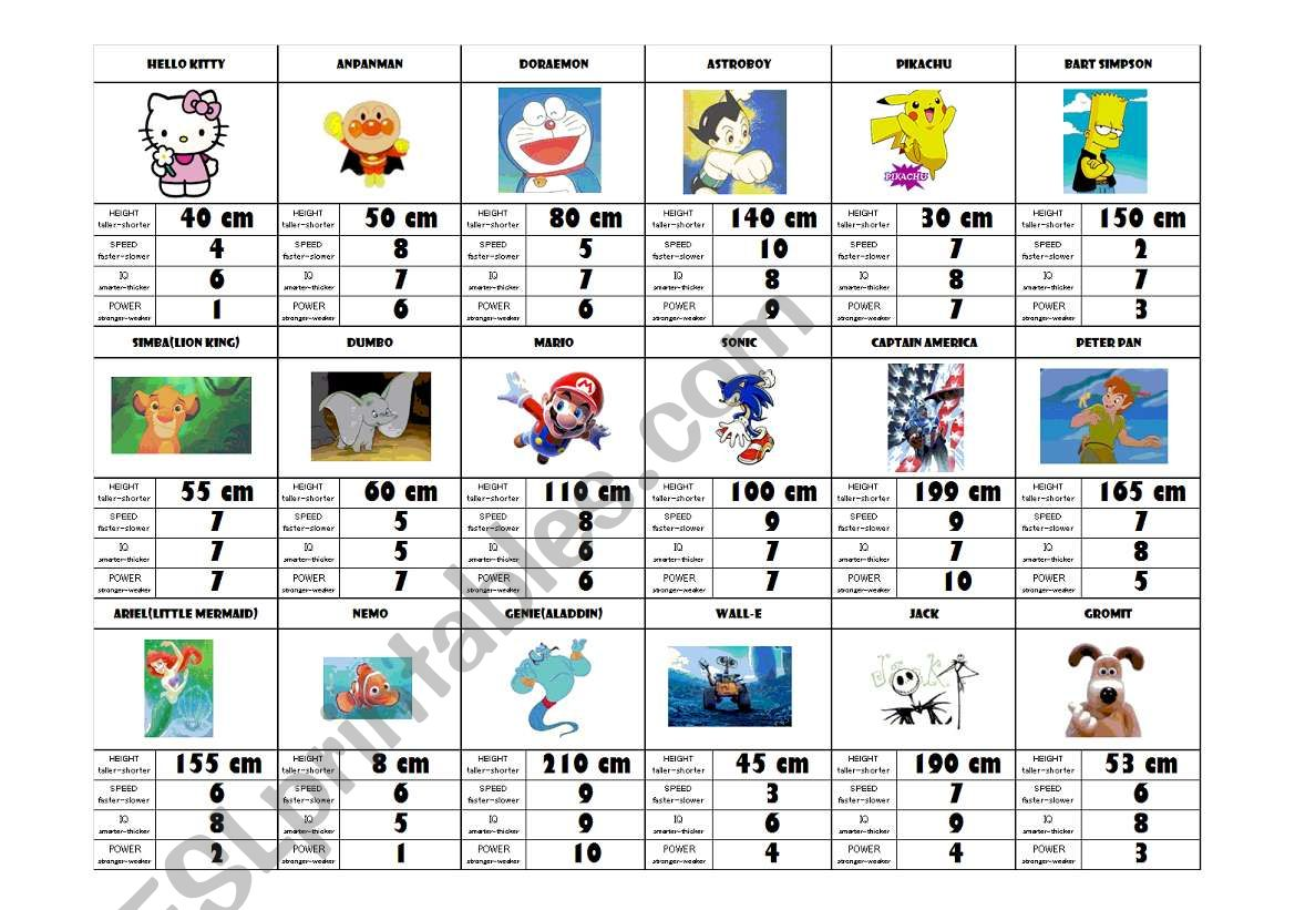 English Worksheets Superhero Cartoon Character Card Game Comparative Superlative And Numbers