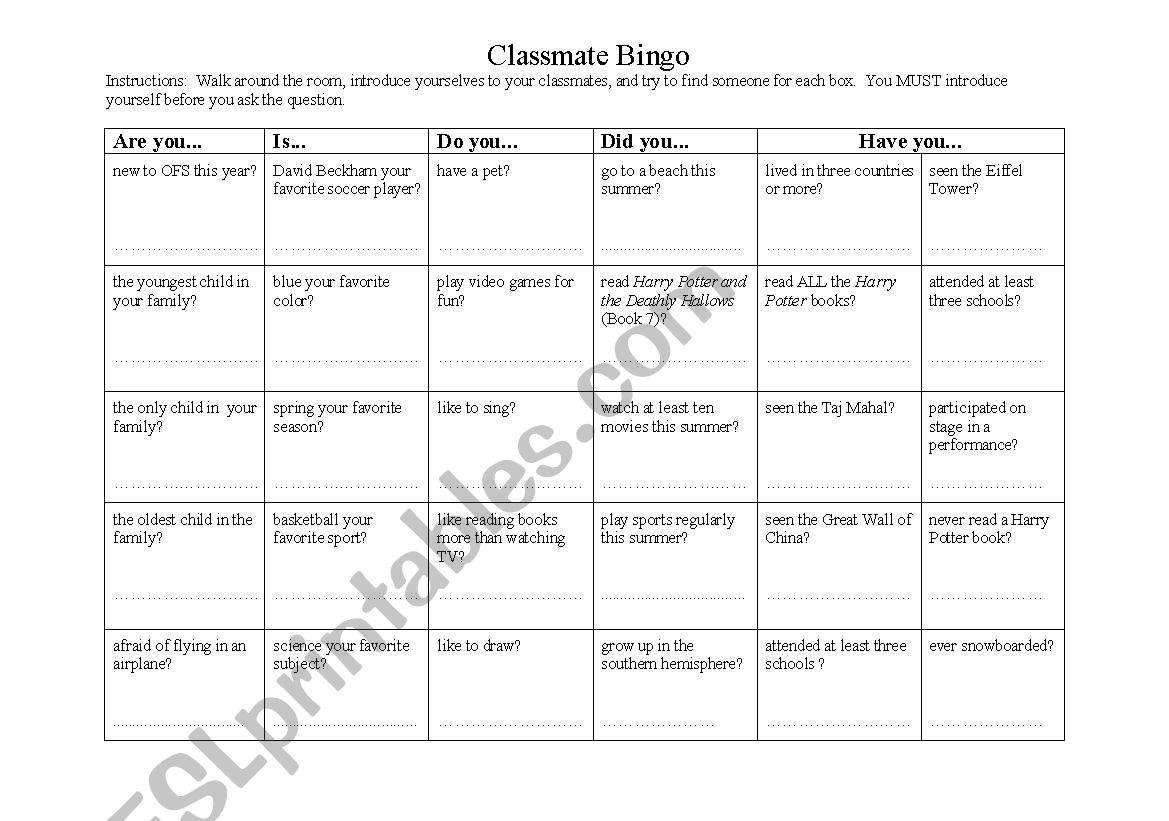 English Worksheets Esl Classmate Bingo
