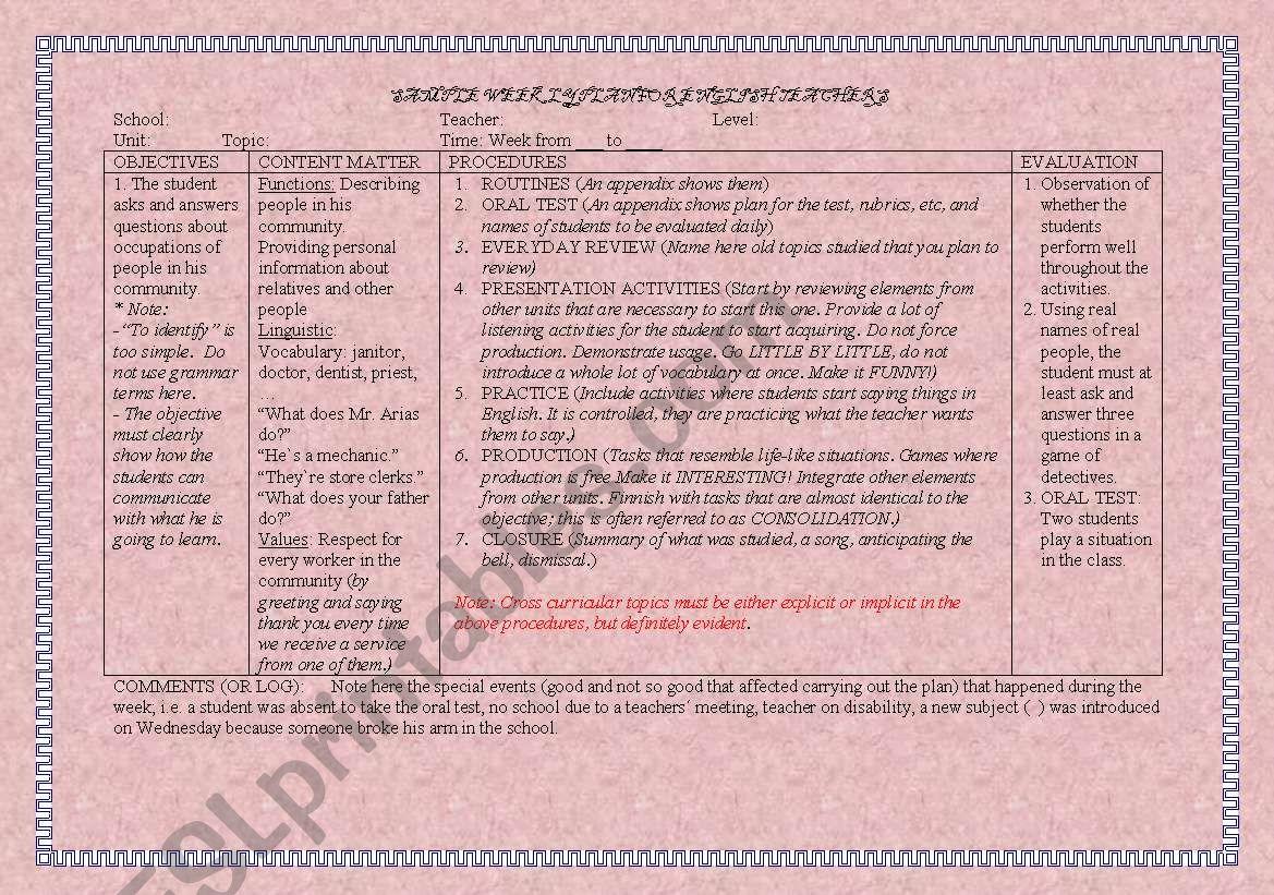 Sample Weekly Plan For English Teachers