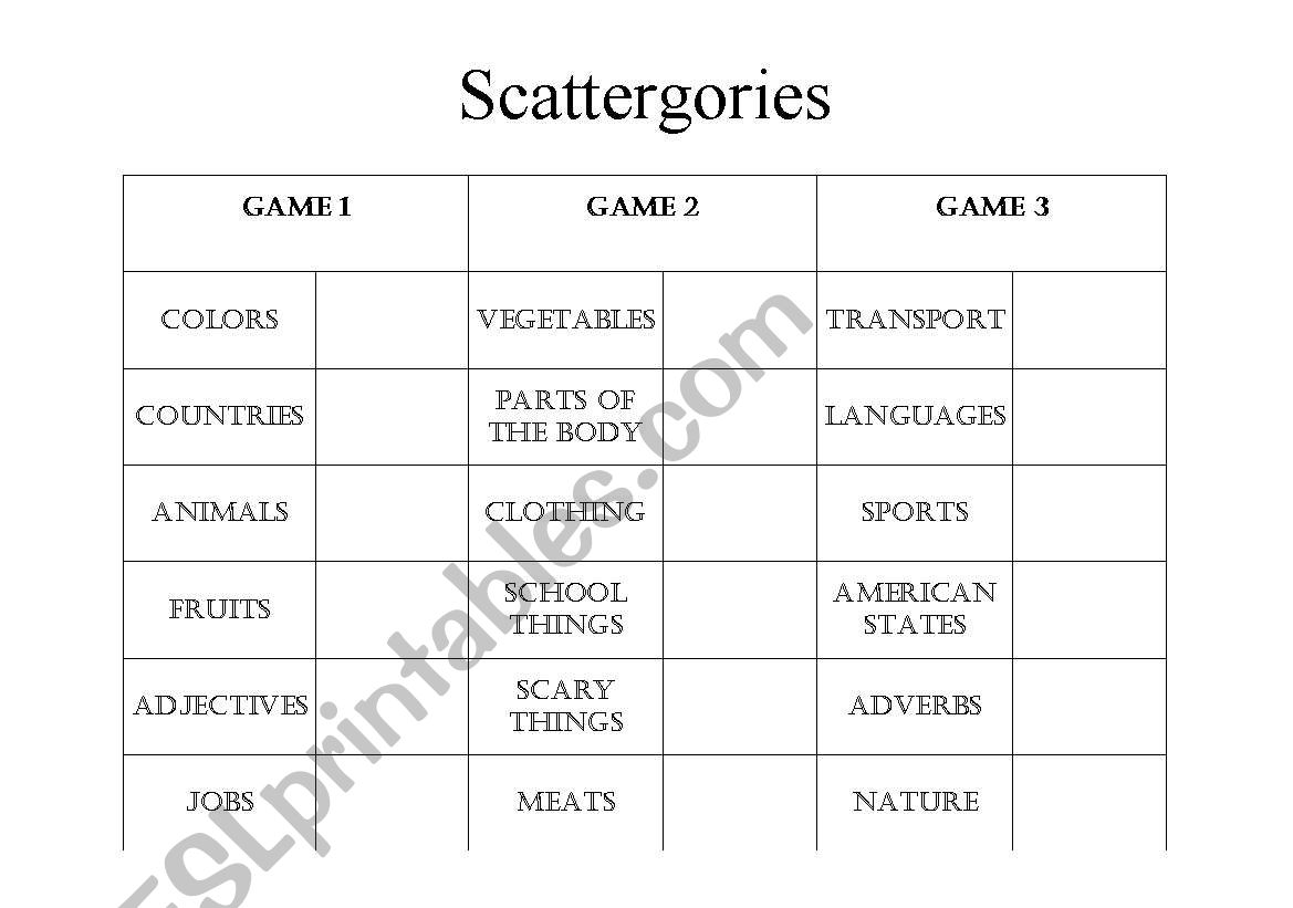 English Worksheets Scattergories