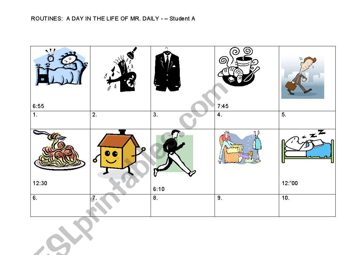 English Worksheets Daily Routines