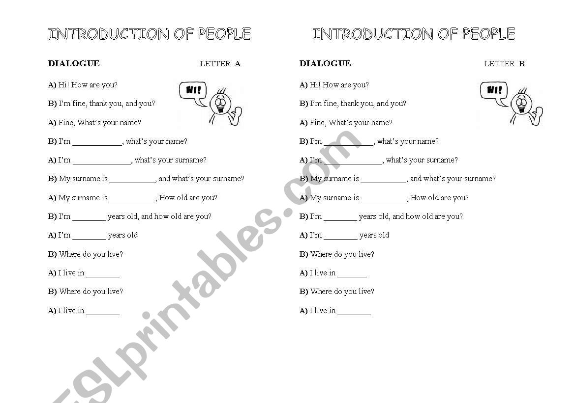 English Worksheets Dialogue Introduccia N Of People