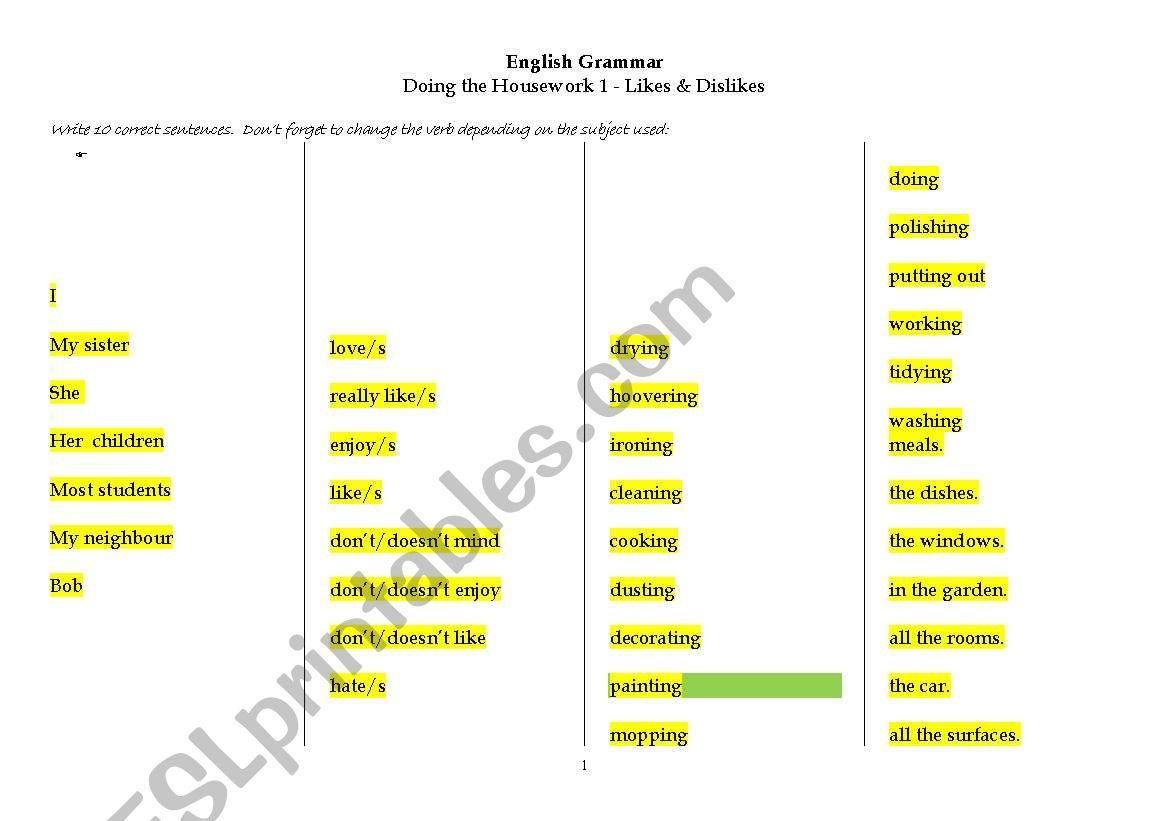 English Worksheets English Grammar On Doing The Housework