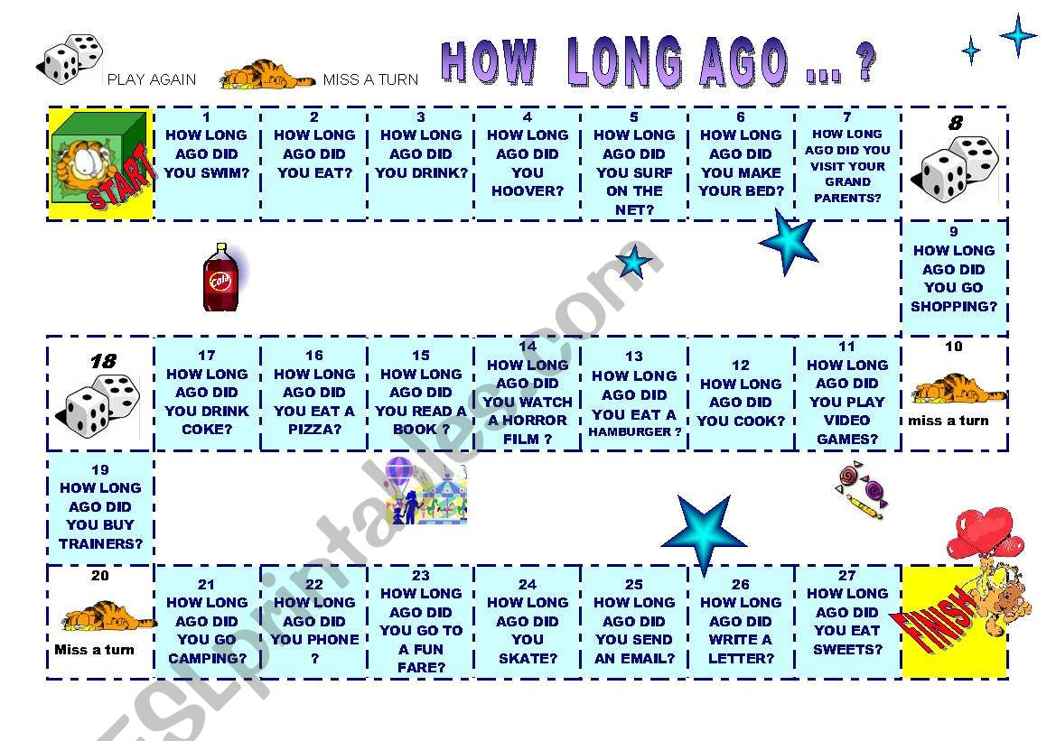 Board Game To Practise How Long Ago Did You I Ago