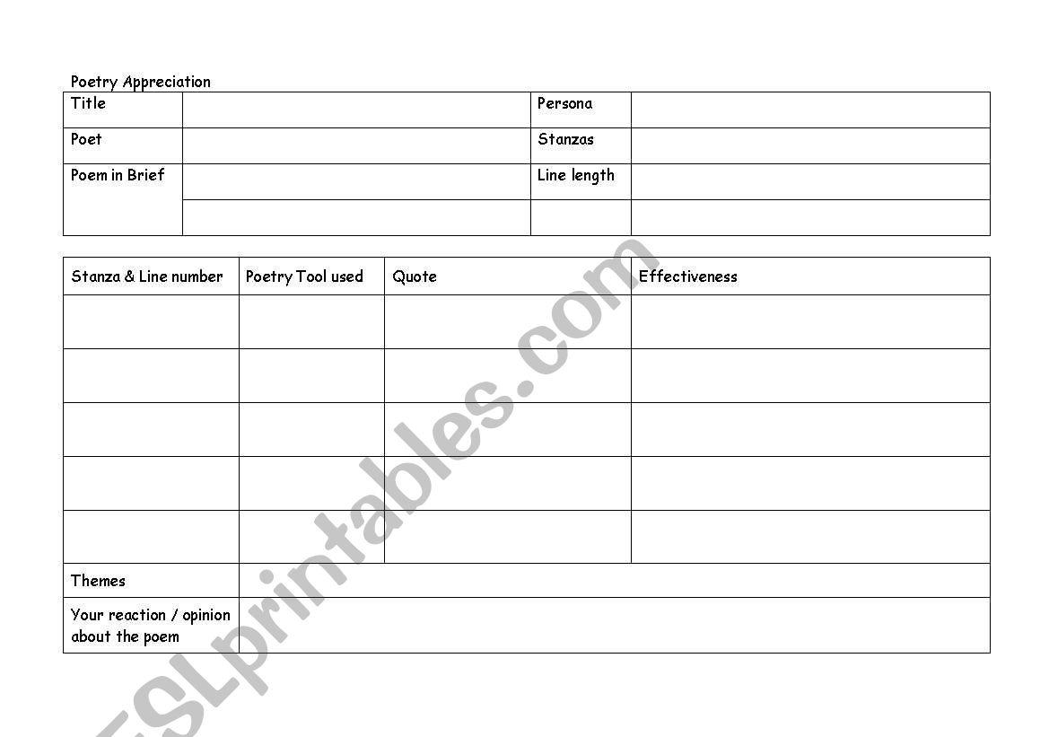 English Worksheets Poetry Appreciation Worksheet