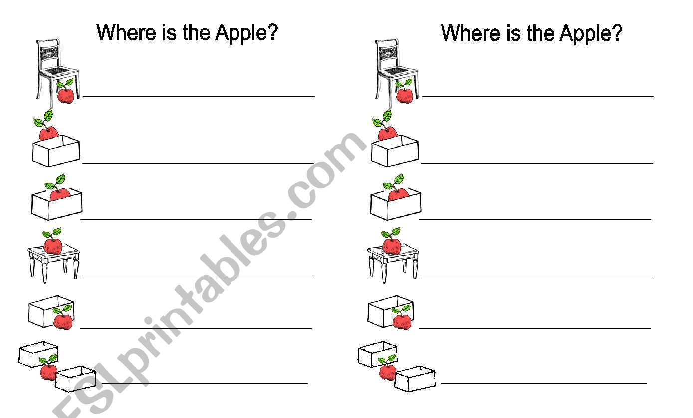 Prepositions Where Is The Apple