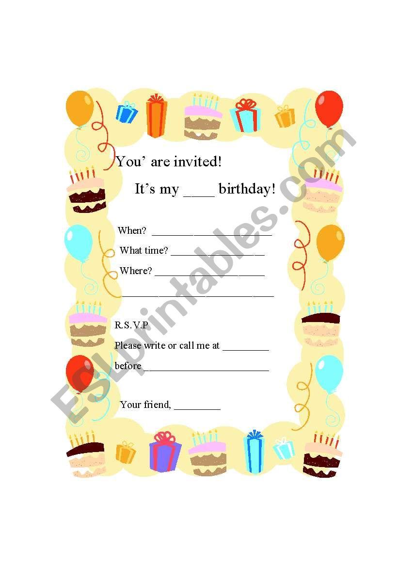 writing a birthday party invitation