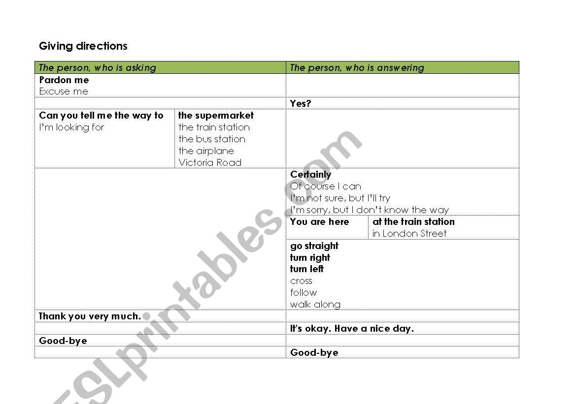 English Worksheets Table To Ask For A Direction