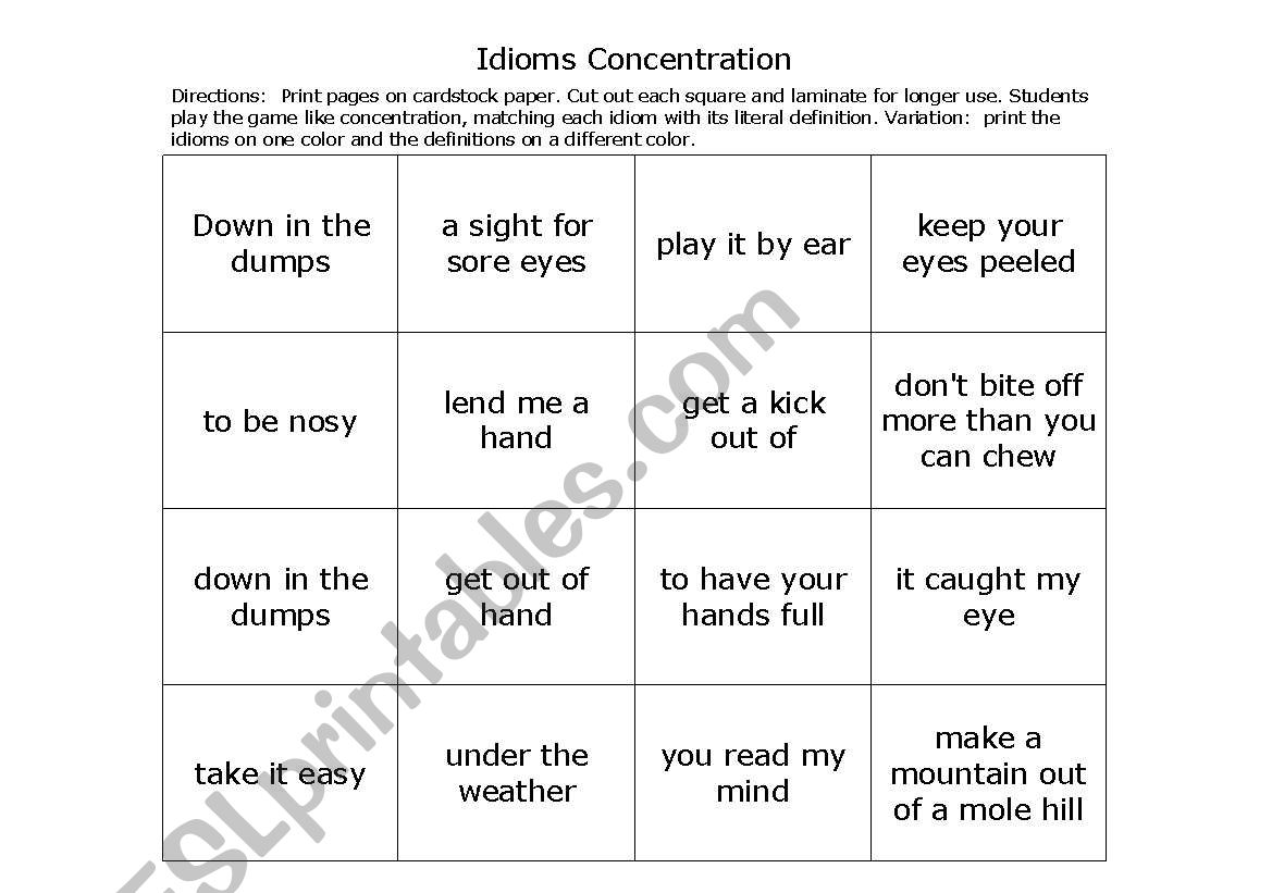 English Worksheets Idioms Concentration