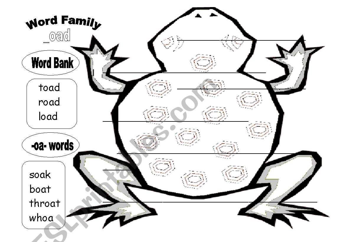Oad Word Family Plus Other Oa Words