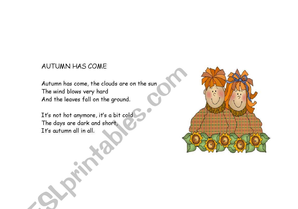 English Worksheets Autumn Rhyme