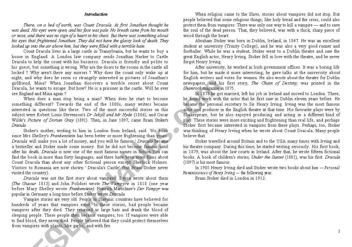 English Worksheets Short Story Dracula