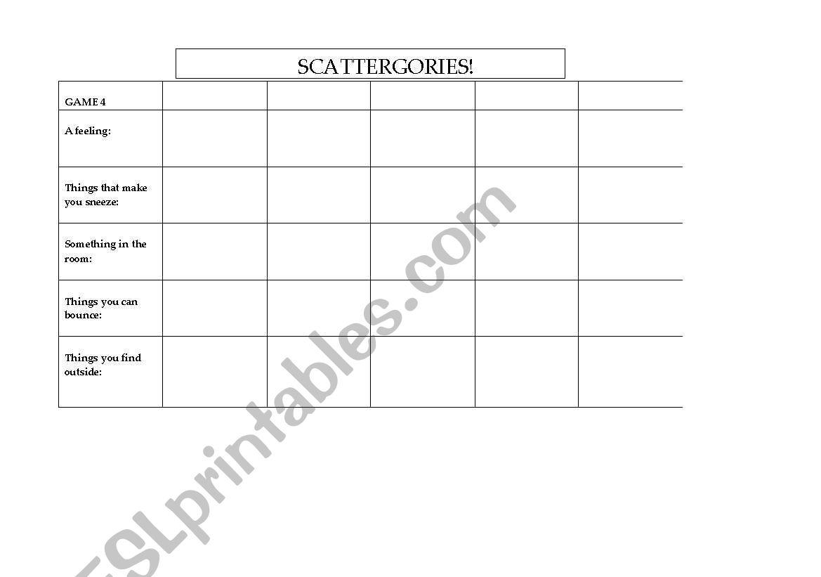 English Worksheets Scattergories Play Sheet