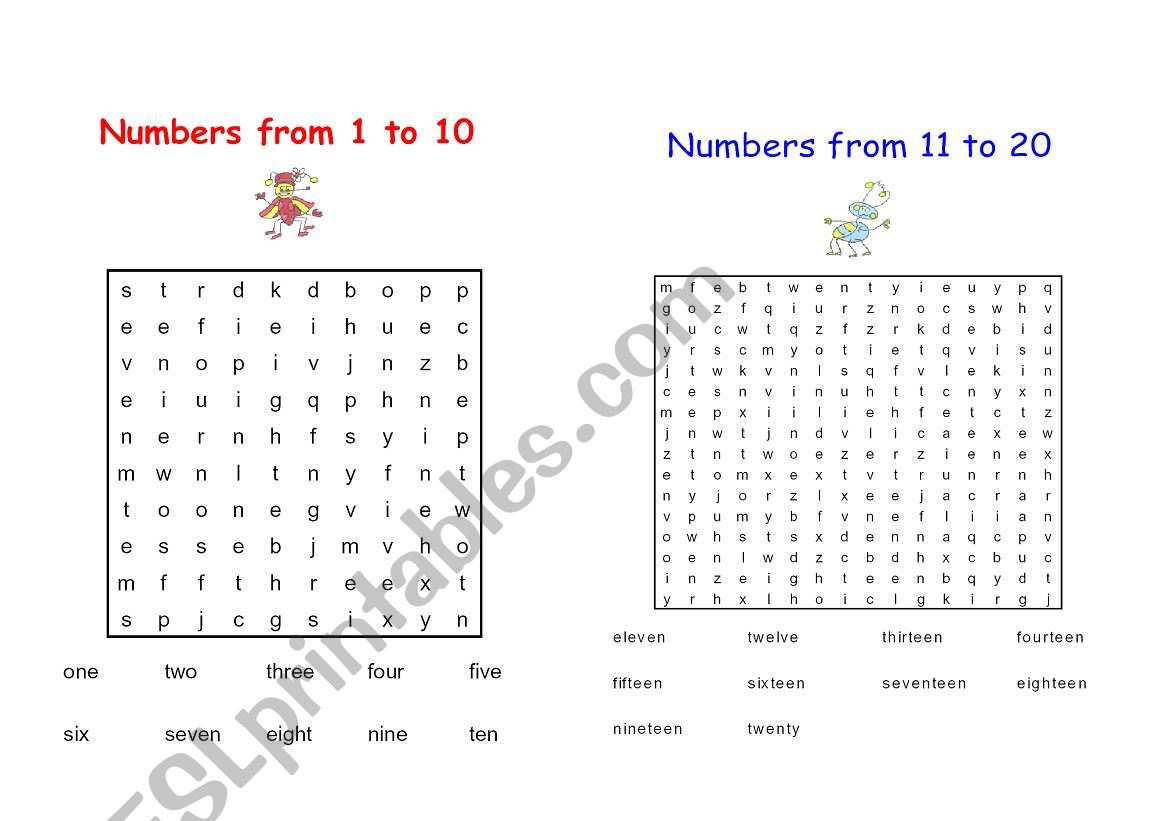 Word Search 1 To 20