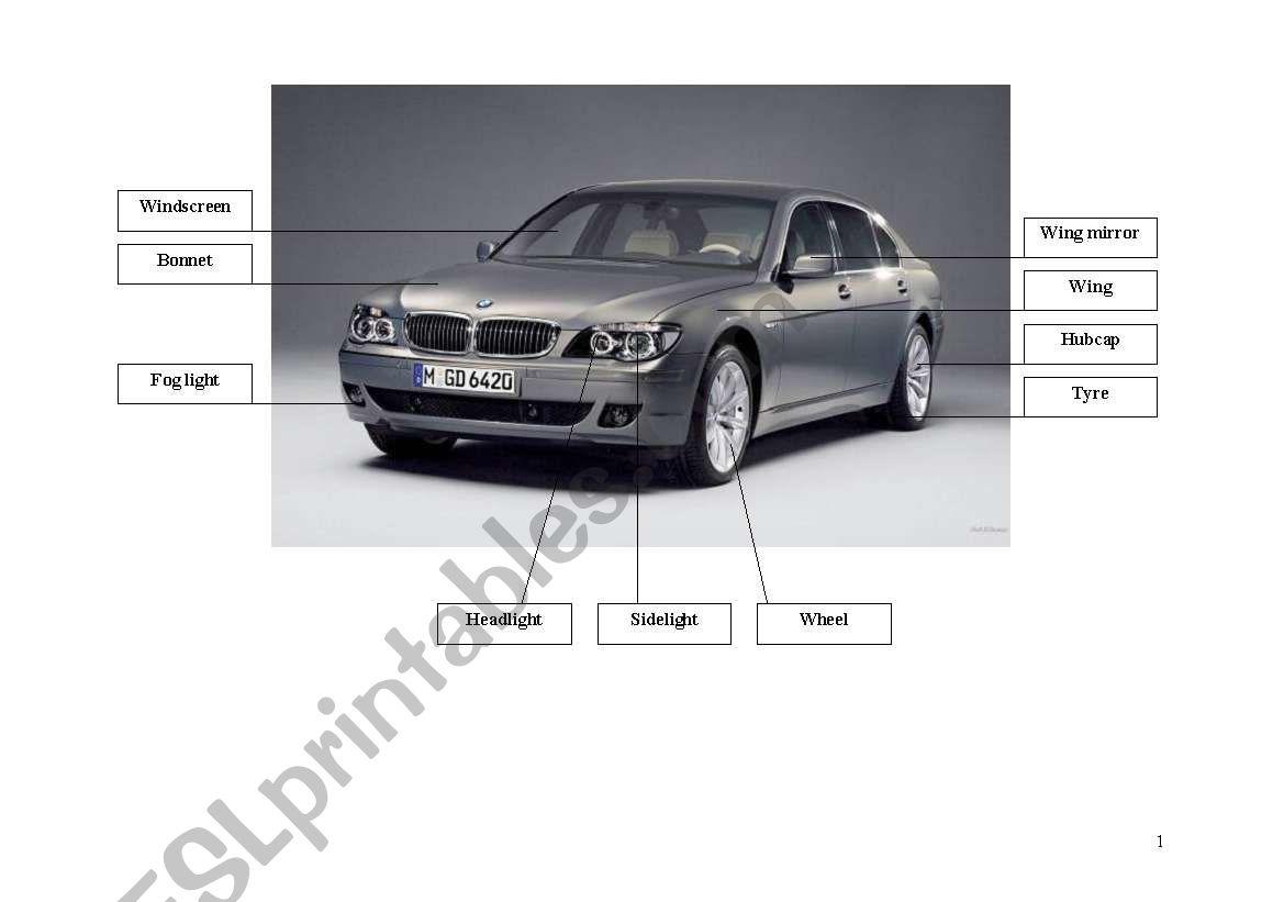English Worksheets Parts Of A Car