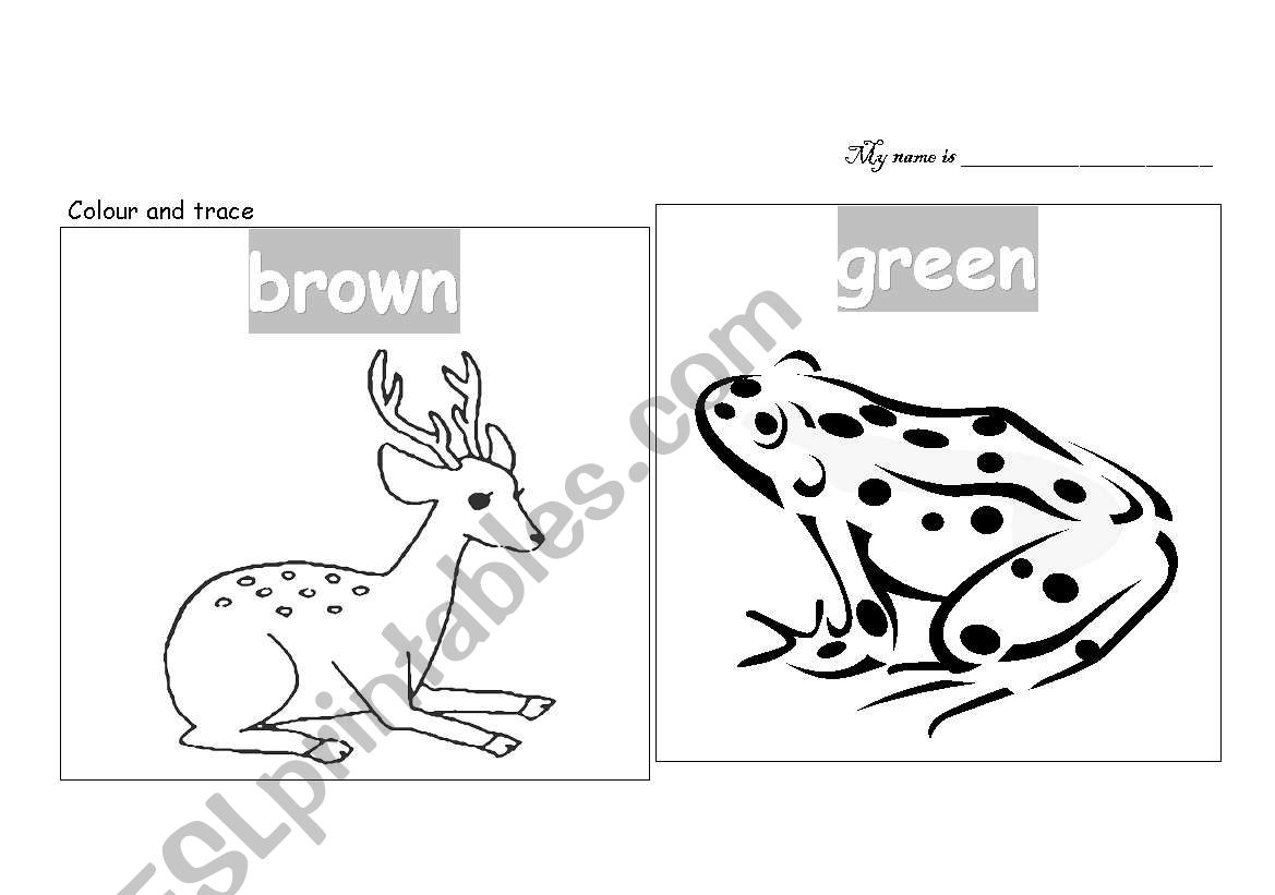English Worksheets Colour The Animals