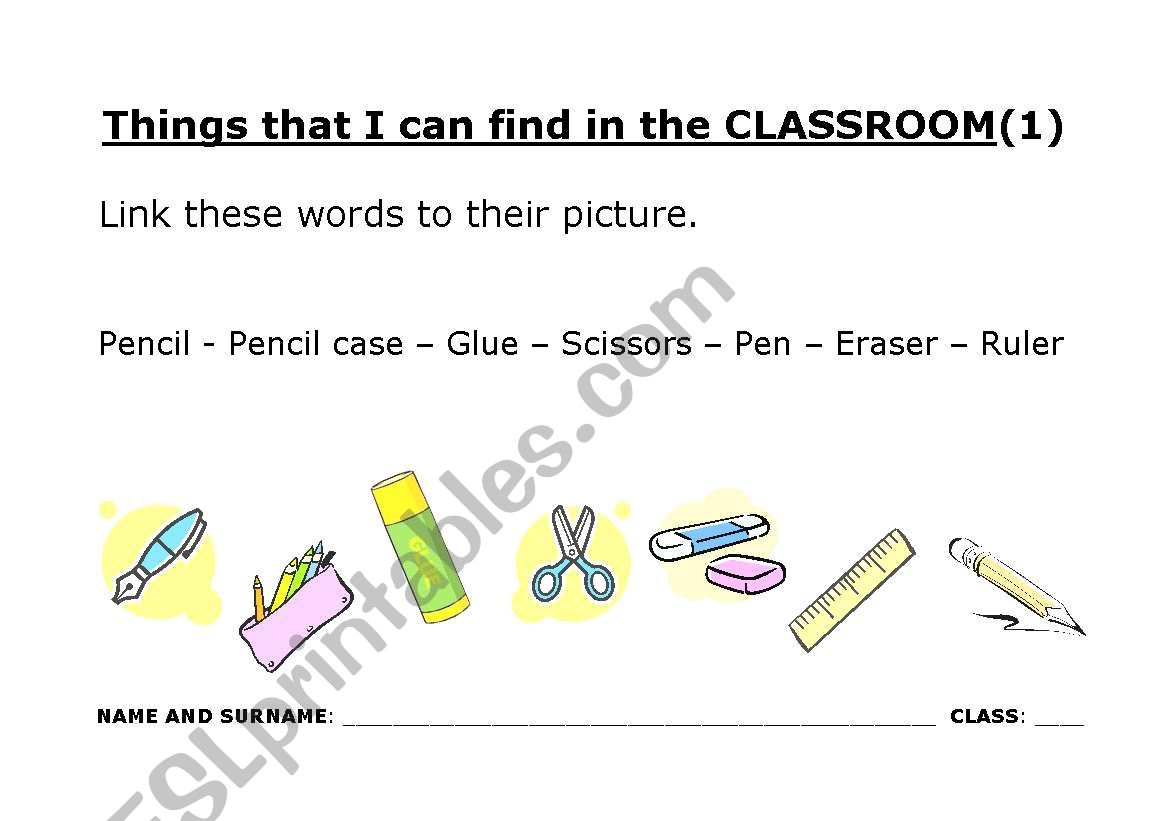 Things That I Can Find In The Classroom 1