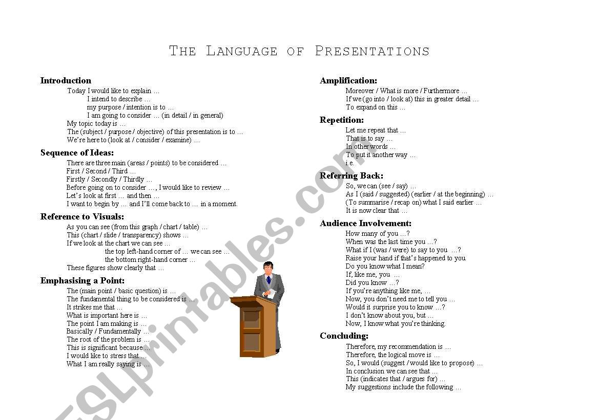 Language Of Presentations