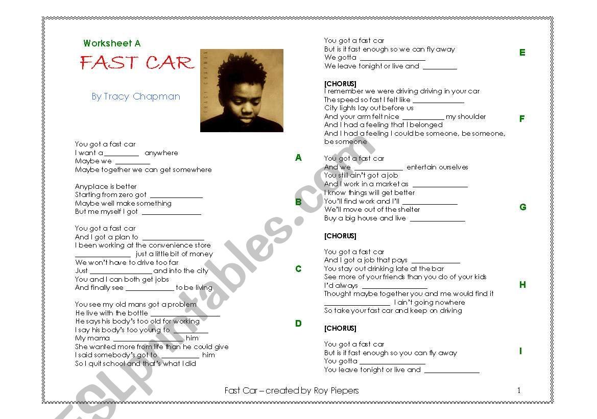 Fast Car By Tracy Chapman