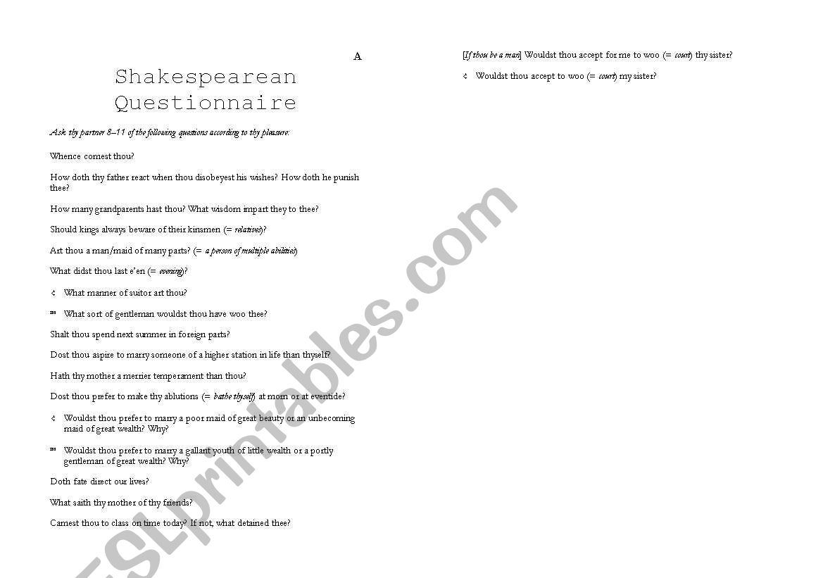 Shakespearean Questionnaire