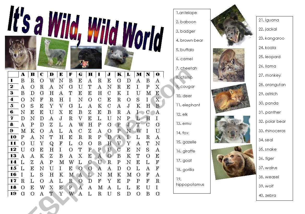 English Worksheets Wild Animals Wordsearch