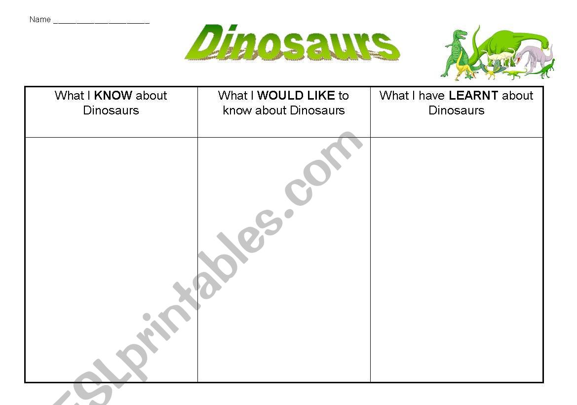 English Worksheets Dinosaurs Kwl Grid
