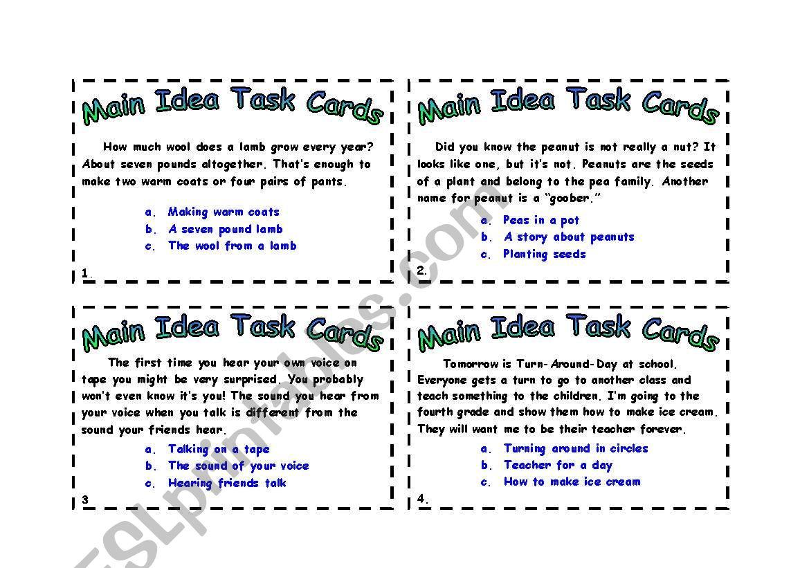 English Worksheets Main Idea Task Cards