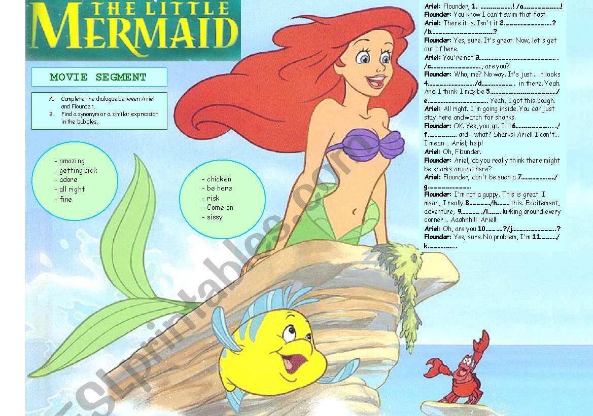 The Little Mermaid Script Activity Movie Segment W Key