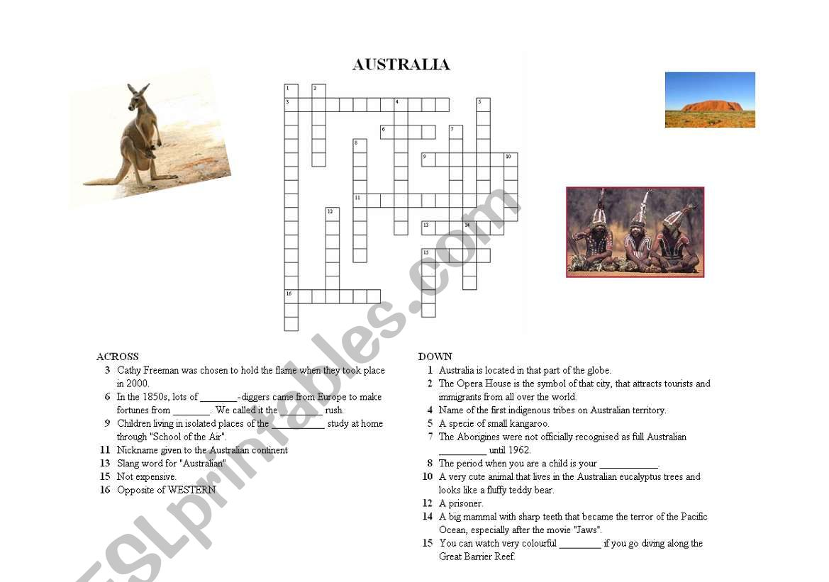 Crosswords On Australia Version 2 3 With Answer Keys