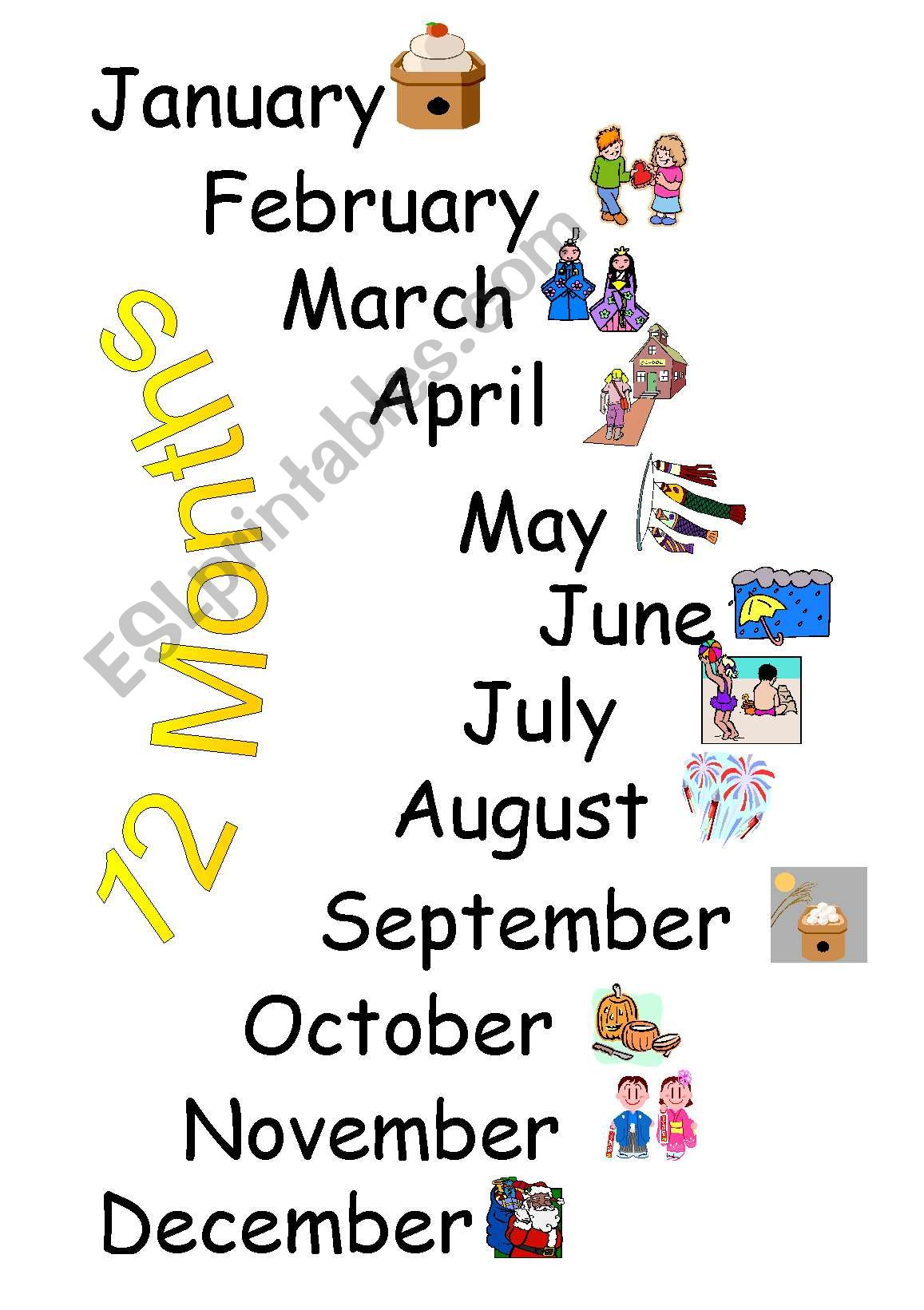 Months Song Board