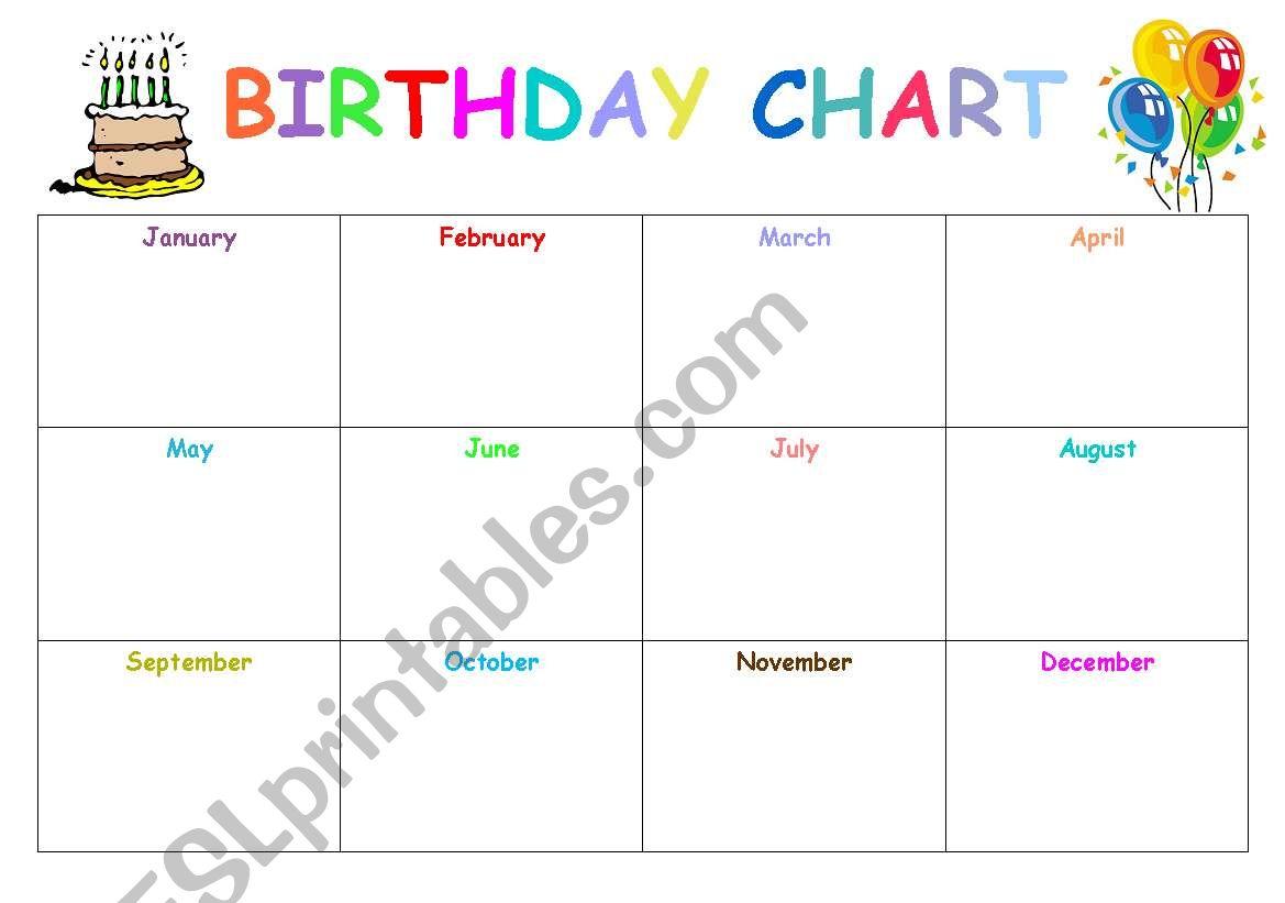 English Worksheets Birthday Chart