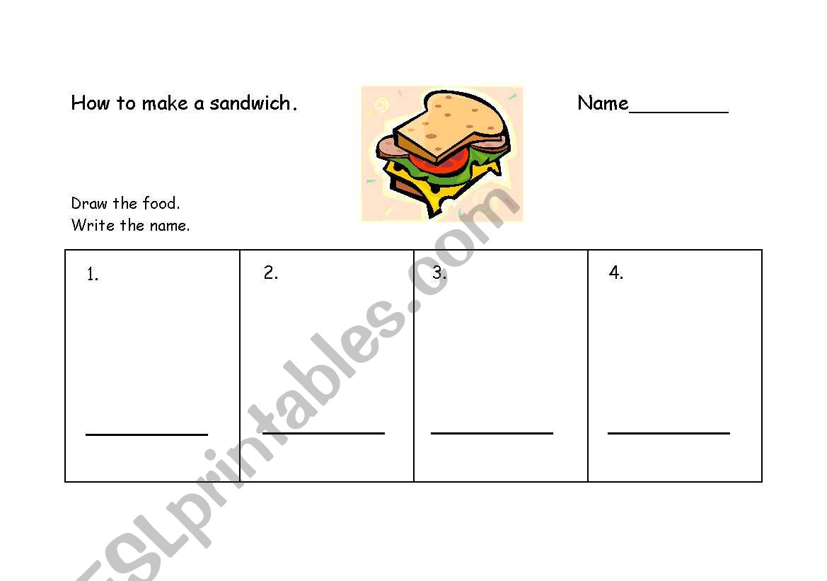 English Worksheets How To Make A Sandwich Infant