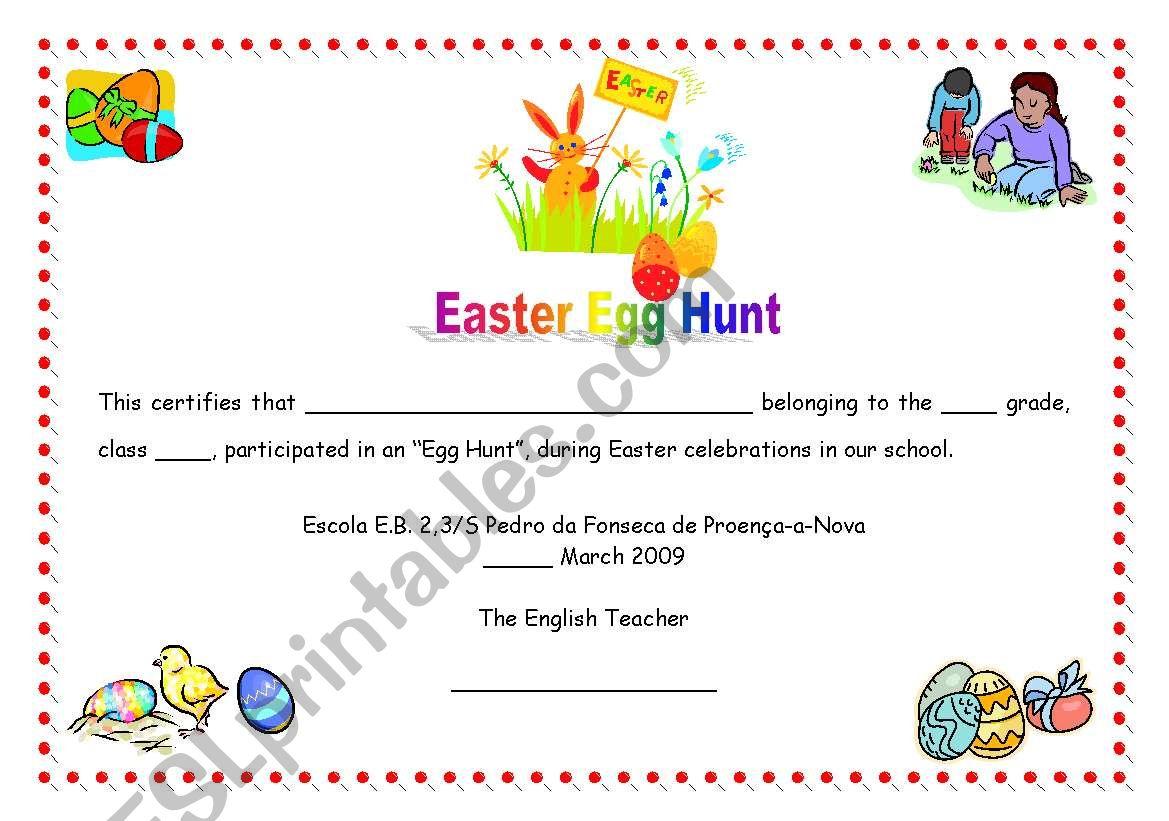 Easter Egg Hunt Certificate 07 05 09