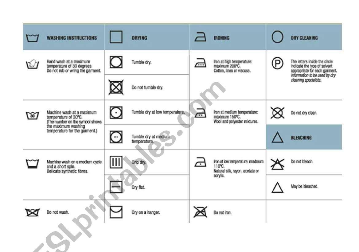 English Worksheets Washing Symbols