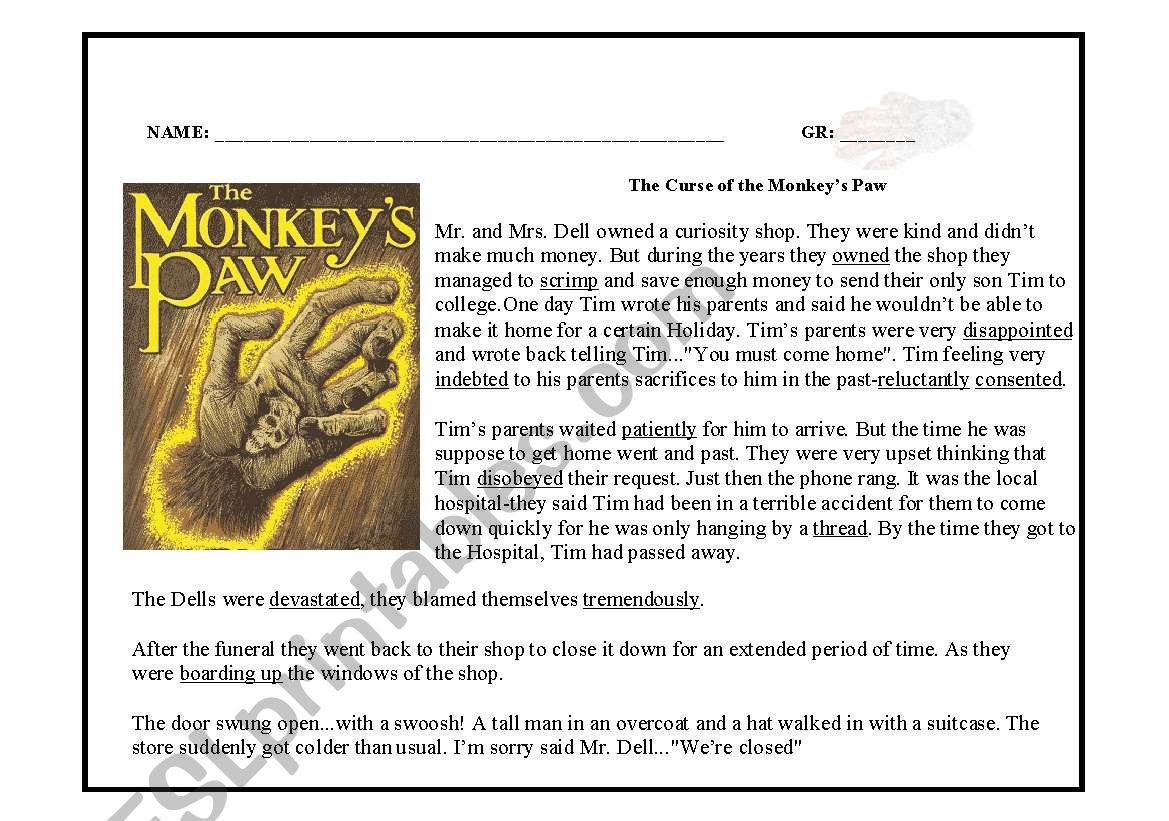 The Curse Of The Monkey S Paw Reading Comprehension