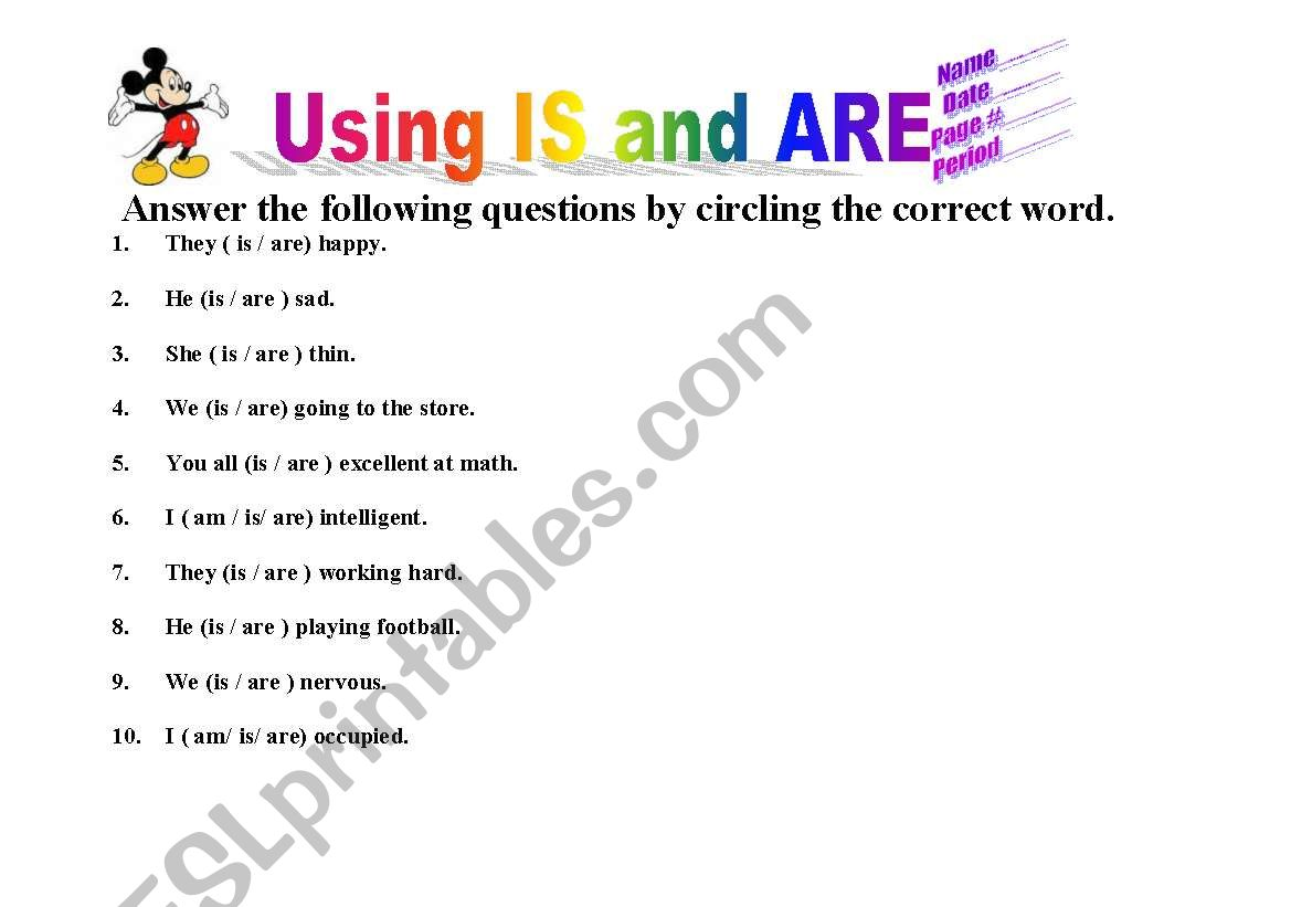 English Worksheets Using Is And Are