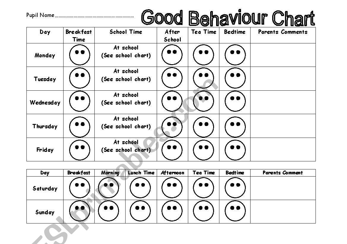 Good Behaviour Chart