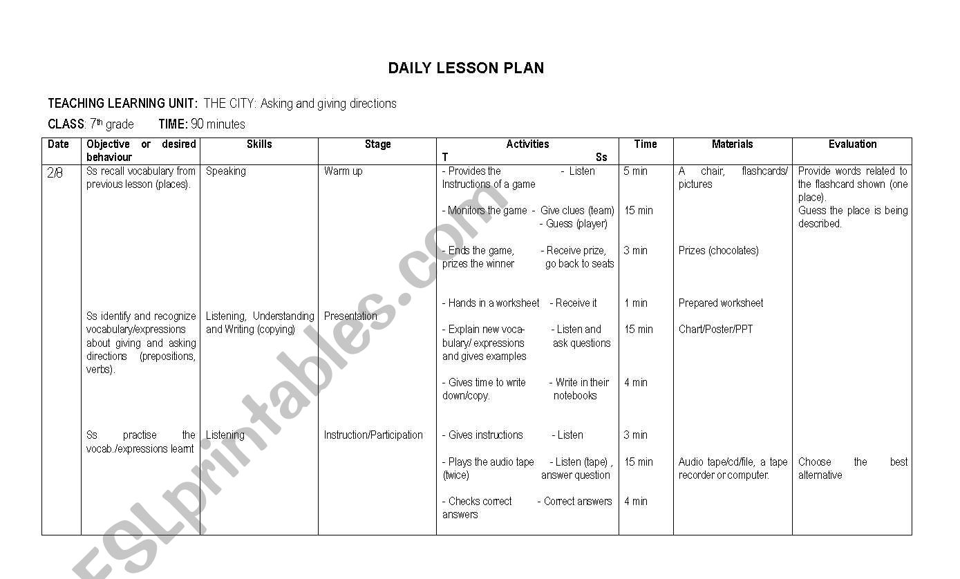 English Worksheets 7th Grade Lesson Plan Contents