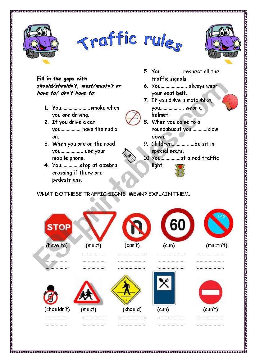 Traffic Rules Esl Worksheet By Truji78