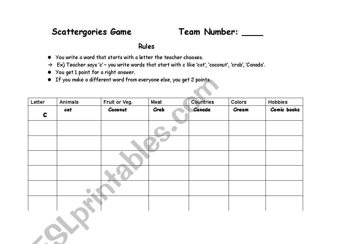 English Worksheets Scattergories Game